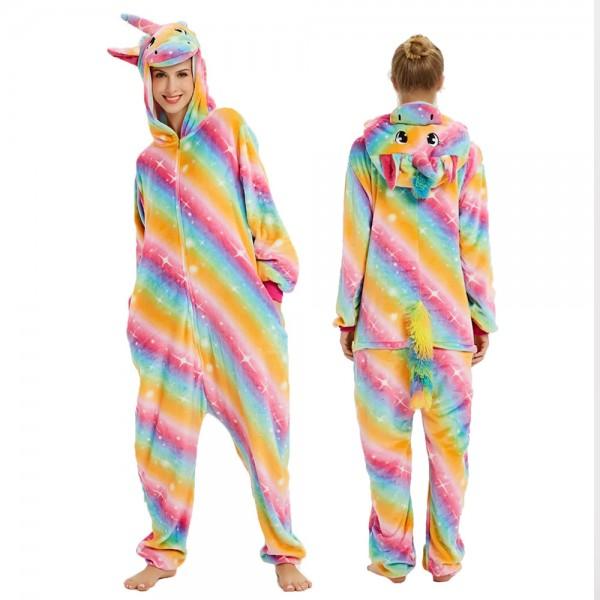 Rainbow Unicorn Onesie Flannel Pajamas Adult Animal Onesies Halloween Costumes