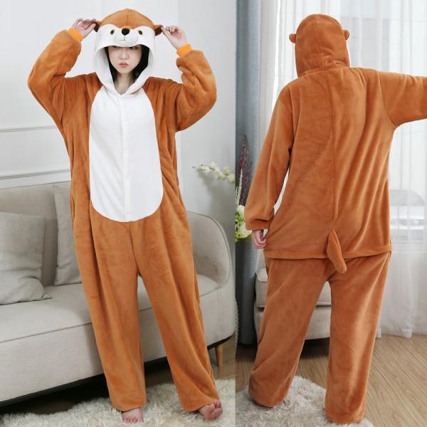 Mongoose Onesie Flannel Pajamas Adult Animal Onesies Halloween Costumes