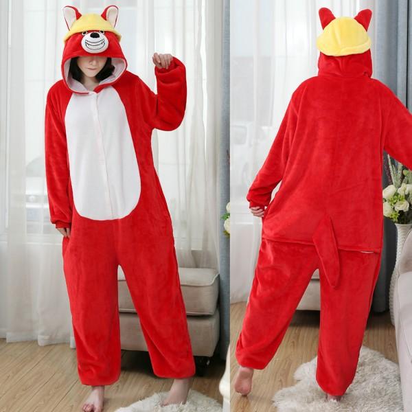 Red Dog Onesie Flannel Pajamas Mens & Womens Animal Onesies Halloween Costumes