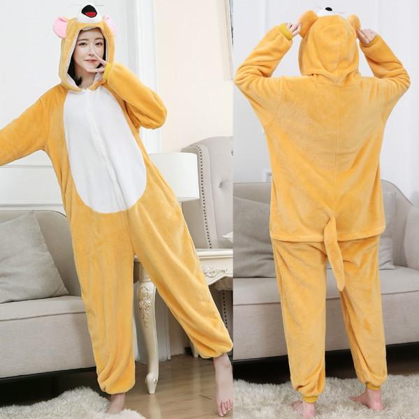Jerry Mouse Onesie Flannel Pajamas Adult Animal Onesies Halloween Costumes