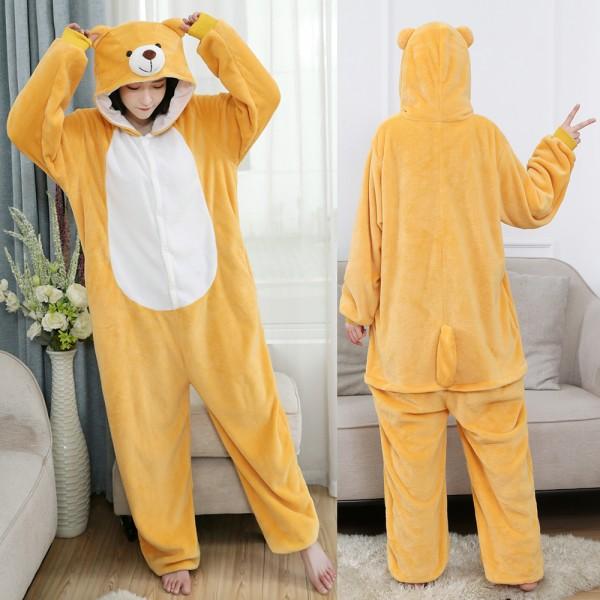 Bear Onesie Flannel Pajamas Adult Animal Onesies Halloween Costumes
