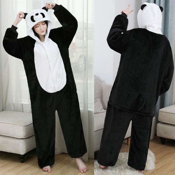 Panda Onesie Flannel Pajamas Adult Animal Onesies Halloween Costumes