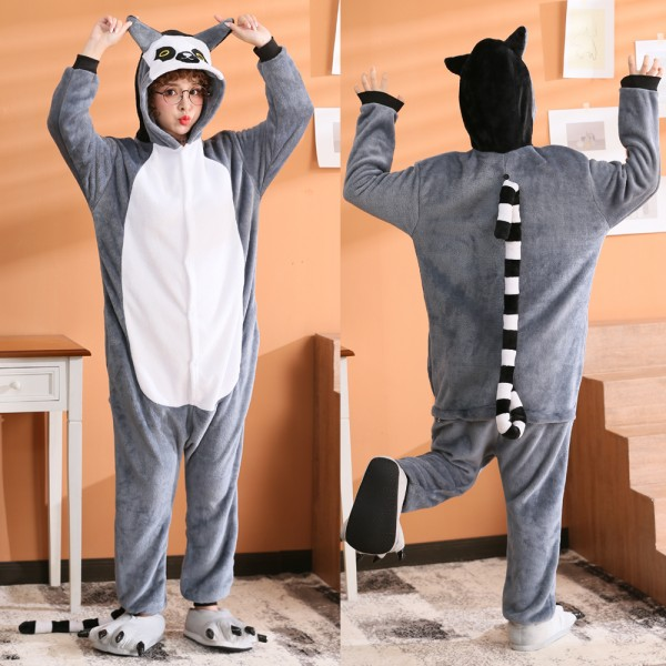 Lemur Onesie Flannel Pajamas Adult Animal Onesies Halloween Costumes