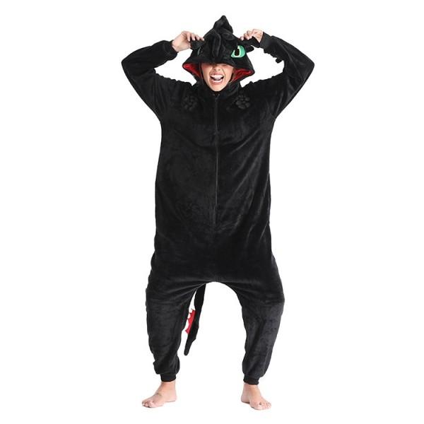 Toothless Onesie Flannel Pajamas Adult Animal Onesies Halloween Costumes