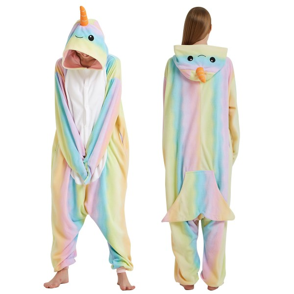 Rainbow Narwhal Onesie Pajamas Adult Animal Onesies