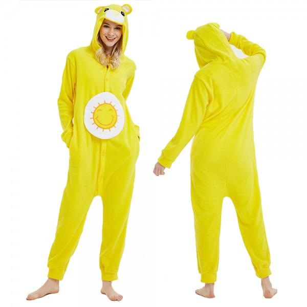 Yellow Care Bear Onesie Pajamas Costumes Adult Animal Onesies Button Closure