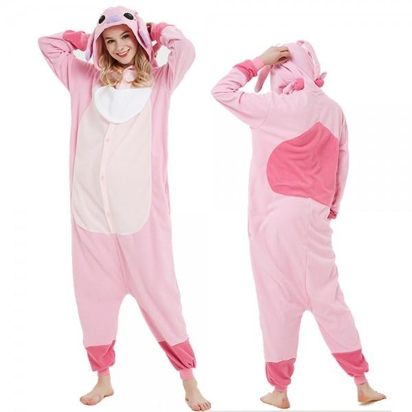 Pink Stitch Onesie Pajamas Lilo & Stitch Costumes Adult Animal Onesies Button Closure