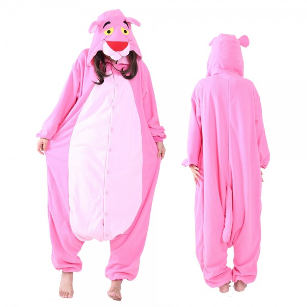 Pink Panther Onesie Pajamas Costumes Adult Animal Onesies Button Closure