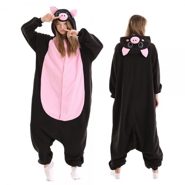 Black Pig Onesie Pajamas for Adult Animal Onesies Halloween Costumes