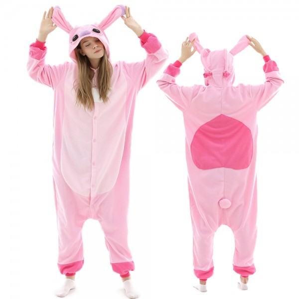 Pink Stitch Lilo & Stitch Onesie Pajamas for Adult Animal Onesies Halloween Costumes