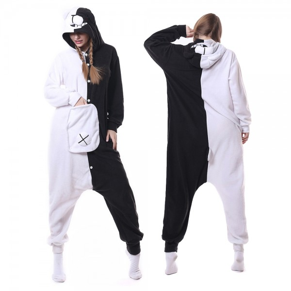 Monokuma Onesie Pajamas for Adult Animal Onesies Cosplay Halloween Costumes