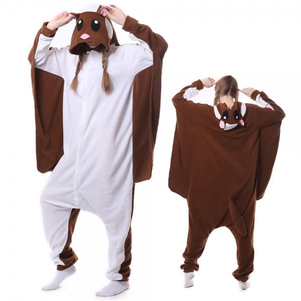 Brown Flying Squirrel Onesie Pajamas for Adult Animal Onesies Cosplay Halloween Costumes