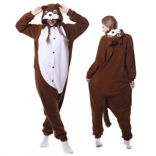 Brown Squirrel Onesie Pajamas for Adult Animal Onesies Cosplay Halloween Costumes