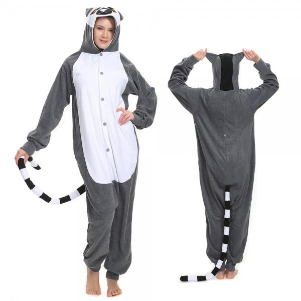 Lemur Onesie Pajamas for Adult Animal Onesies Cosplay Halloween Costumes