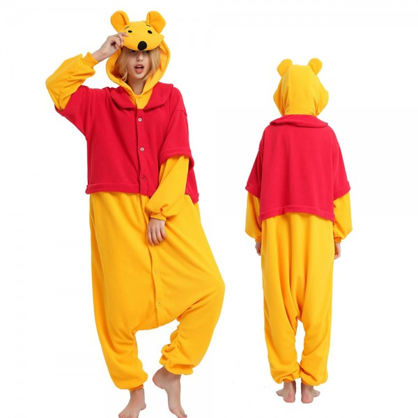Winnie The Pooh Onesie Pajamas for Adult Animal Onesies Cosplay Halloween Costumes