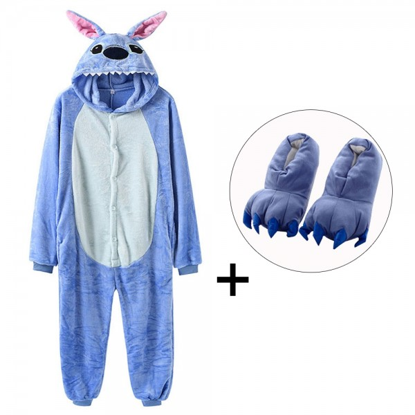 Stitch Onesie Pajamas Costume for Adult & Kids with Slippers