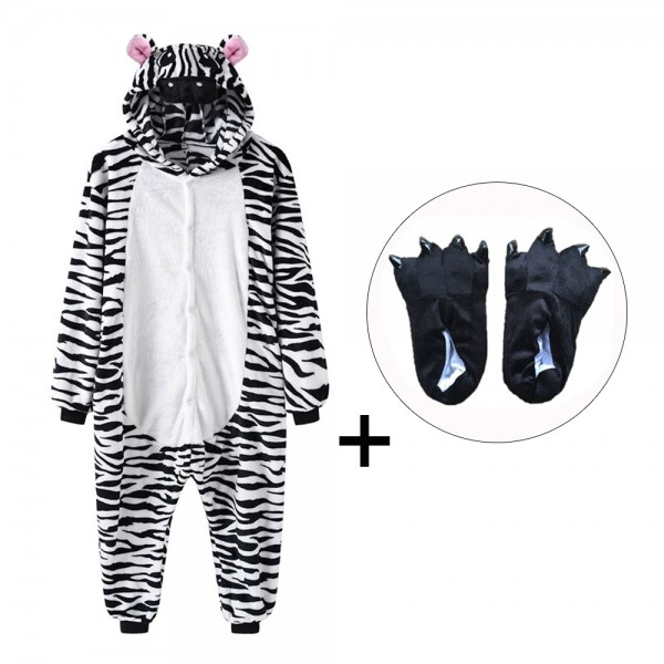 Zebra Onesie Pajamas Costume for Adult & Kids with Slippers
