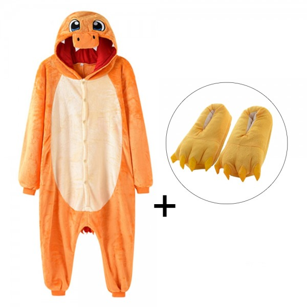 Charmander Onesie Pajamas Costume for Adult & Kids with Slippers