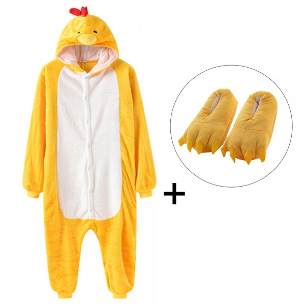 Yellow Chicken Onesie Pajamas Costume for Adult with Slippers