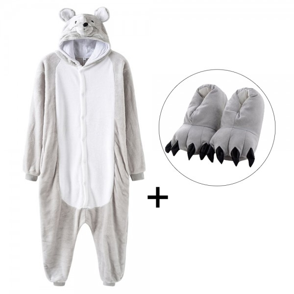 Mouse Onesie Pajamas Costume for Adult with Slippers