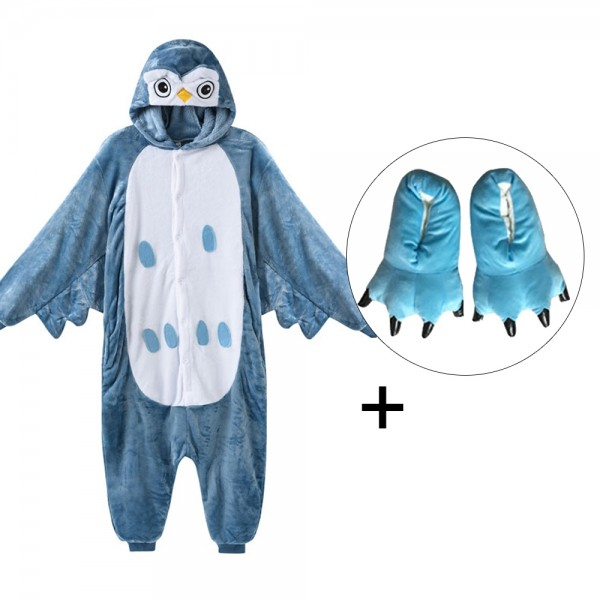 Owl Onesie Pajamas Costume for Adult & Kids with Slippers