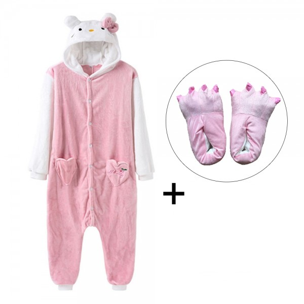 Hellow Kitty Onesie Pajamas Costume for Adult & Kids with Slippers