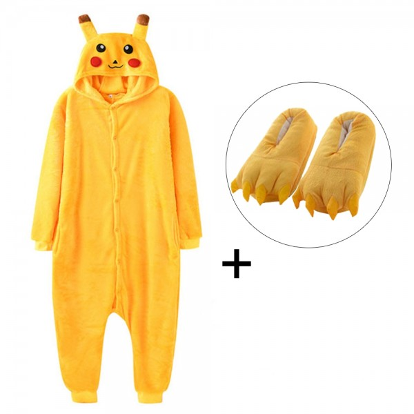Pikachu Onesie Pajamas Costume for Adult & Kids with Slippers