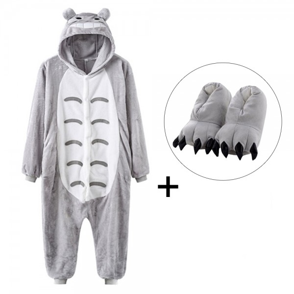 Totoro Onesie Pajamas Costume for Adult & Kids with Slippers