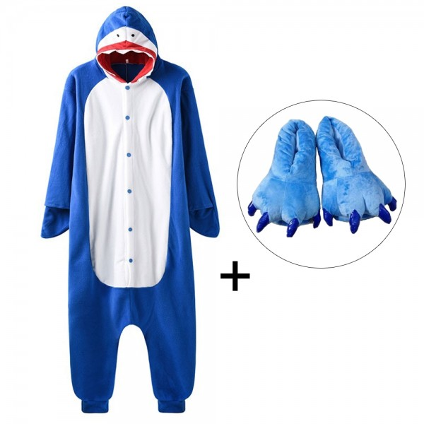 Shark Onesie Pajamas Costume for Adult & Kids with Slippers