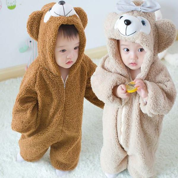 Brown & Khaki Bear Baby Boy & Girls Animal Cute Oneises Pajamas Costume