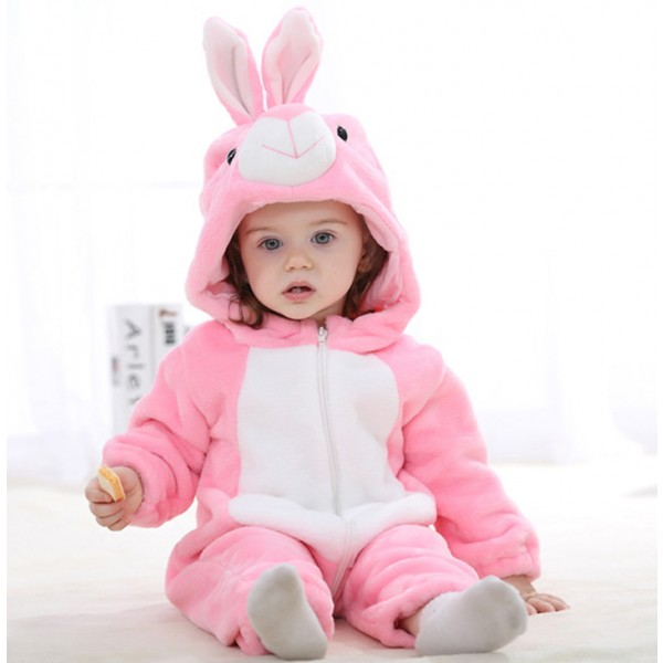 Pink Bunny Baby Boy & Girls Animal Cute Oneises Pajamas Costume