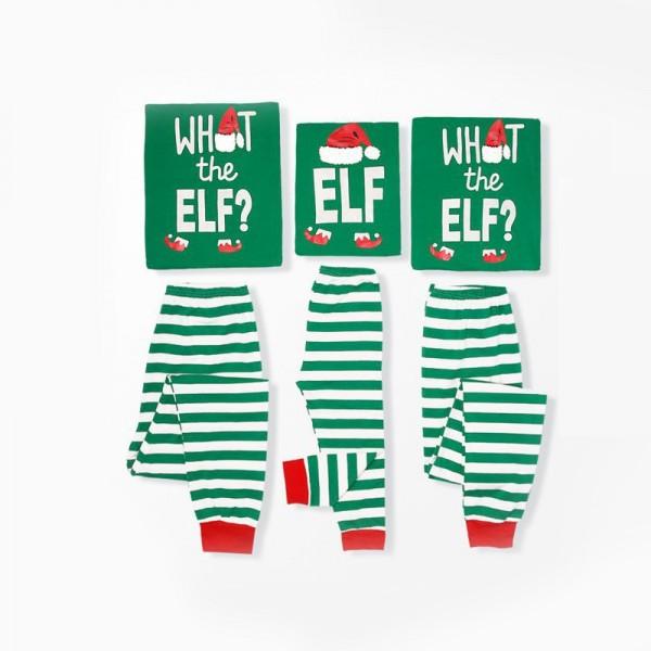 Elf Green Stripes Matching Family Christmas Pajamas