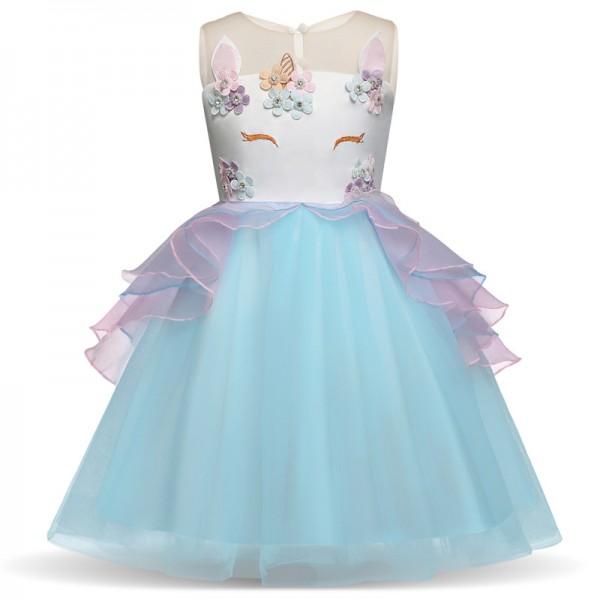 Girls Unicorn Costume Unicorn Dress in Blue