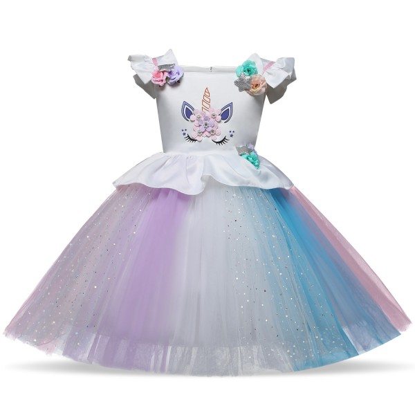 Kids Unicorn Costume Dress Outfit White Sleeves