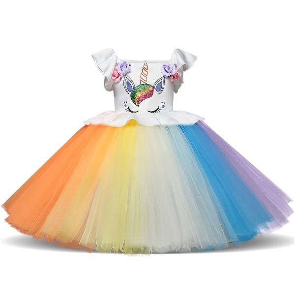 Kids Rainbow Unicorn Costume Dress Outfit