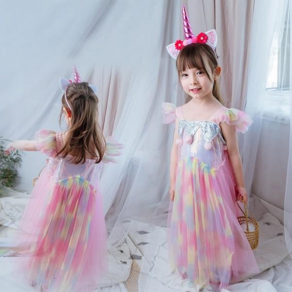 Girls Pink Unicorn Dress Costume with Headband