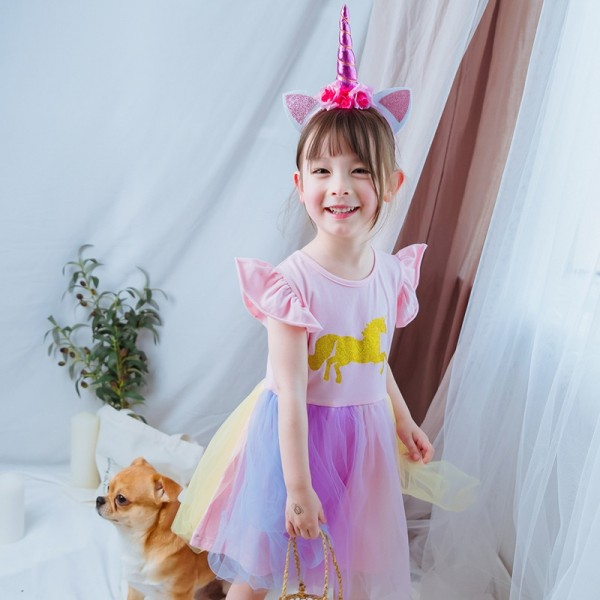 Unicorn Dress for Girls with Headband Cosplay Costume