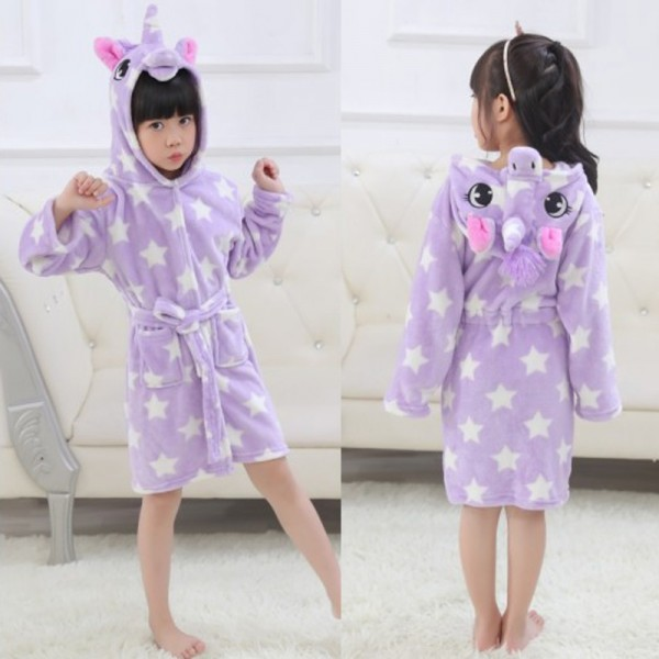 Purple Star Boys & Girls Animal Robes Hooded Bathrobe