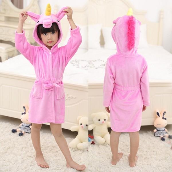 Pink Unicorn Boys & Girls Animal Robes Hooded Bathrobe