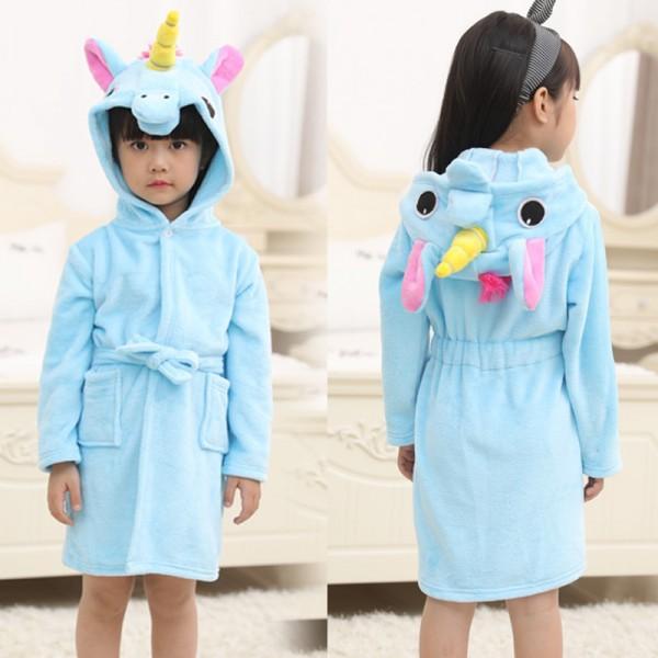 Blue Unicorn Robe Animal Robes Hooded Bathrobe for Kids