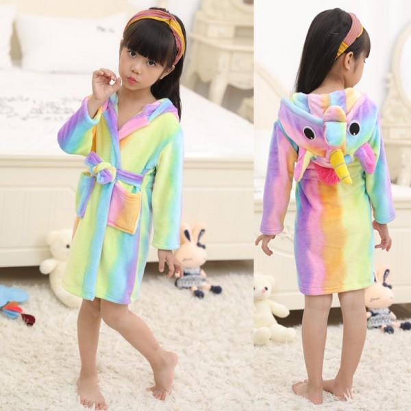 Rainbow Unicorn Robe Animal Robes Hooded Bathrobe for Kids