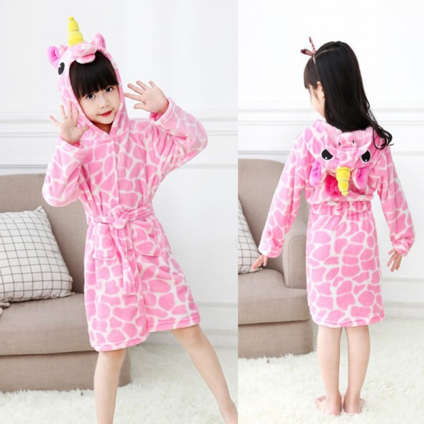 Pink Unicorn Robe With Pattern Animal Robes Hooded Bathrobe for Kids
