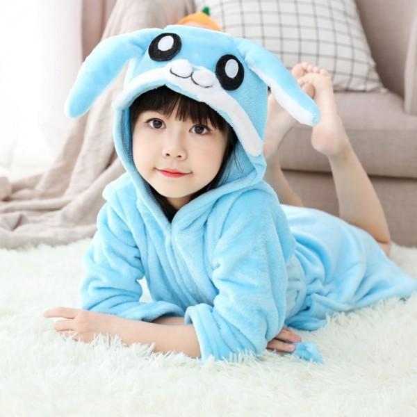 Blue Bunny Robe Animal Robes Hooded Bathrobe for Kids