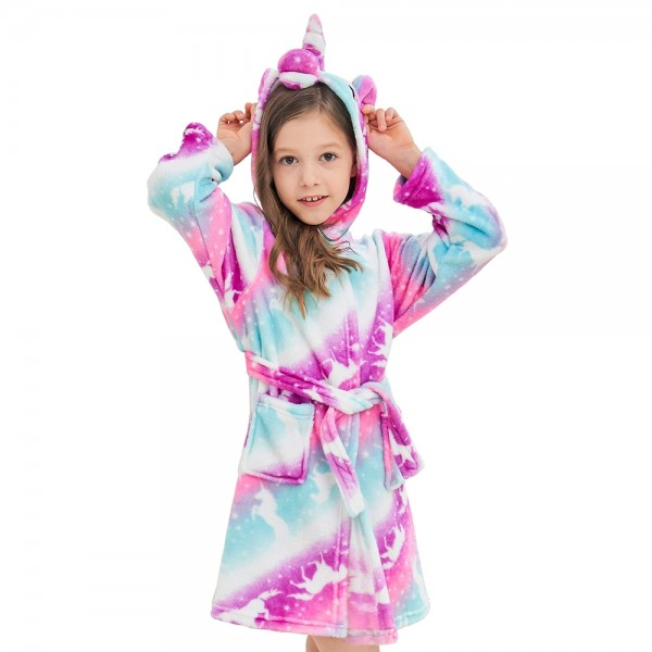 Soft Unicorn Hooded Bathrobe Sleepwear Unicorn Gifts for Girls Purple
