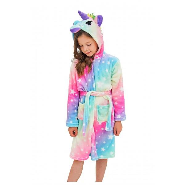 Soft Unicorn Hooded Bathrobe Sleepwear Unicorn Gifts for Girls Colorful