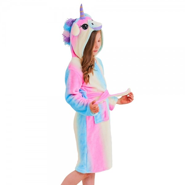 Soft Unicorn Hooded Bathrobe Sleepwear Unicorn Gifts for Girls Blue Rainbow