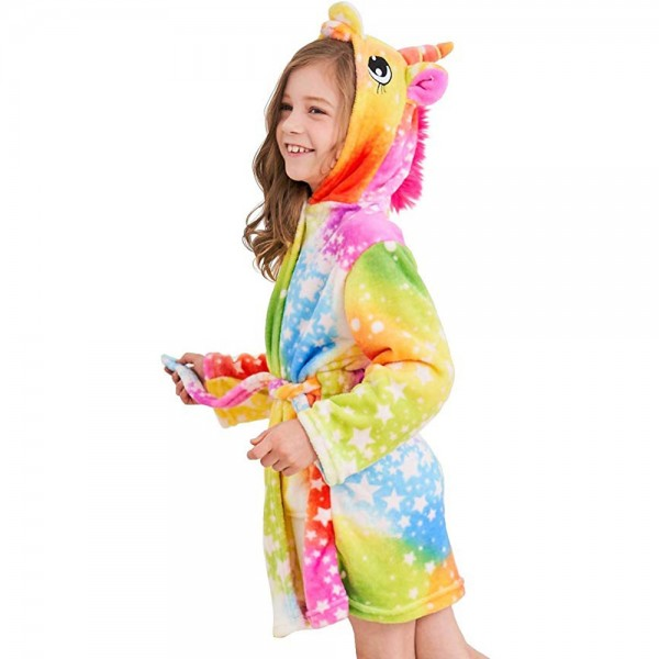 Soft Unicorn Hooded Bathrobe Sleepwear Unicorn Gifts for Girls