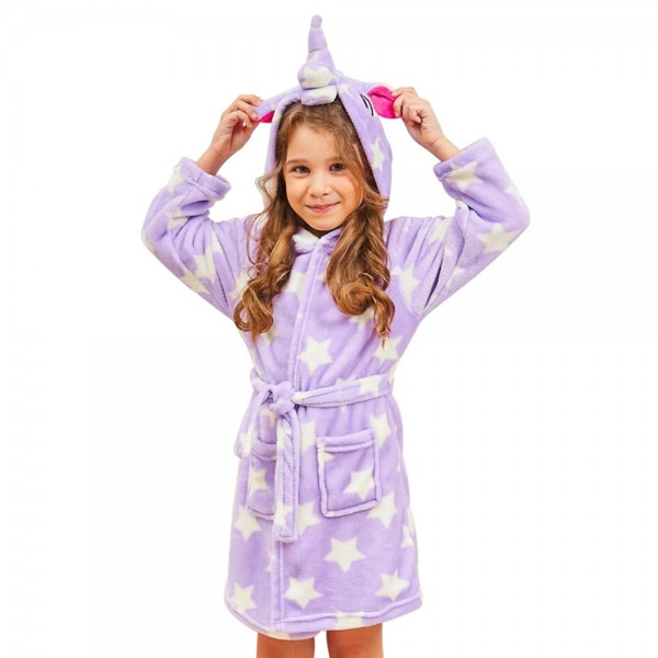Soft Unicorn Hooded Bathrobe Sleepwear Unicorn Gifts for Girls Purple Star