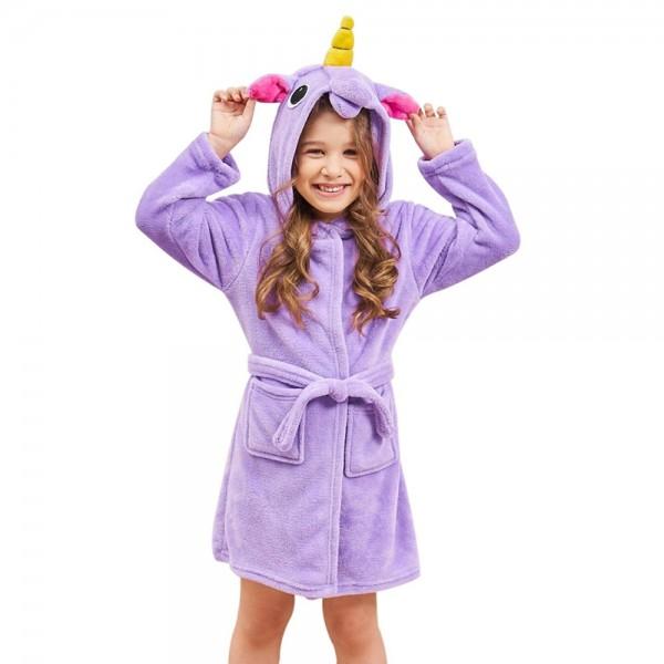 Soft Unicorn Hooded Bathrobe Sleepwear Unicorn Gifts for Girls Pure Purple