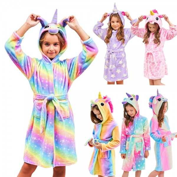 Christmas Holiday Unicorn Gifts for Girls Kids & Toddler Soft Unicorn Hooded Bathrobe Sleepwear